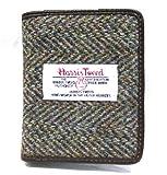 Mens Green Herringbone with Brown Leather Harris Tweed 'Lewis' Card Wallet - Made In Scotland by Glen Appin