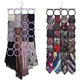 Scarf-Tie Hanger Closet Door Organizer, the No Snags Best Space Saving Hanger for Infinity Scarves and Tie Rack (1-Light Purple)
