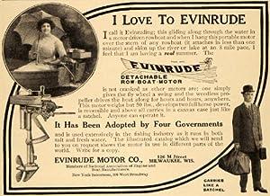 1913 Ad Evinrude Motor Co Portable Motor Boat Milwaukee - Original Print Ad