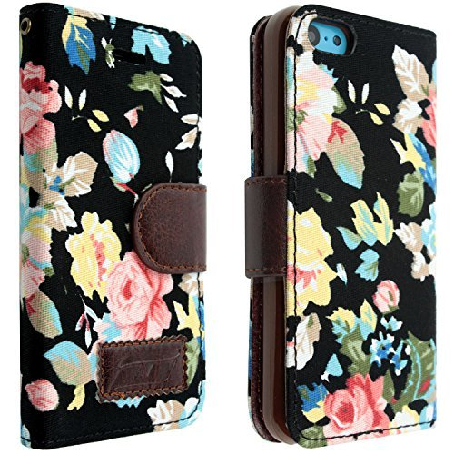 iPhone 5C Folding Case,International Market Trading® Black Floral Design Great For Watching Moviews iPhone 5C Case+with one random color Hair Ties