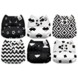 Mama Koala One Size Baby Washable Reusable Pocket Cloth Diapers, 6 Pack with 6 One Size Microfiber Inserts (Black & White) (Color: Black & White, Tamaño: One Size)