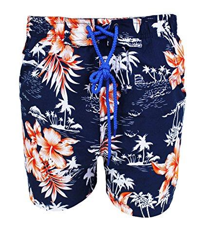 Costume uomo mare Usa Polo blu scuro floreale boxer bermuda pantaloncino piscina (S)
