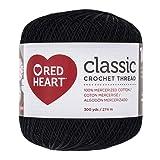 Coats Crochet Red Heart Classic Crochet, Thread Size 10, Black (144-12) (Color: Black, Tamaño: 10)