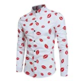 Shybuy Men Fashion Floral Print Button Long Sleeve Basic T Shirt Blouse Top (3XL, White) (Color: White, Tamaño: 3X-Large)