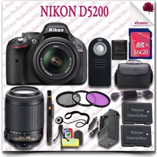 Nikon D5200 Digital Slr Camera With 18-55Mm Af-S Dx Vr (Black) + Nikon 55-200Mm Af-S Dx Vr Lens + 16Gb Sdhc Class 10 Card + 3Pc Filter Kit + Slr Gadget Bag + Wireless Remote 19Pc Nikon Saver Bundle