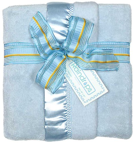 Raindrops Flurr Receiving Blanket, Blue