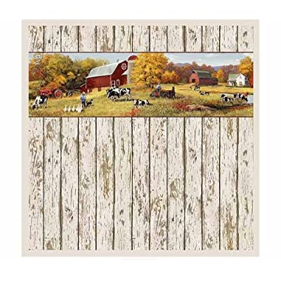 Down On The Farm Tractor Country Shower Curtain Home Decor Wood Plank Barn Style