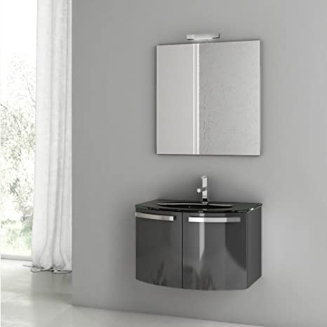 ACF 28 Inch Glossy Anthracite Bathroom Vanity Set CD07