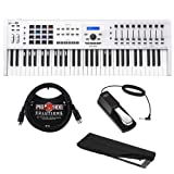 Arturia KeyLab MKII 61 Professional MIDI Controller and Software (White) with 6ft MIDI Cable, Sustain Pedal & Keyboard Dust Cover (Medium) Bundle