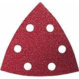 Bosch 2609256957 Set de 10 feuilles abrasives bois delta 93 mm 6 trous grains 60/80/120/180/240