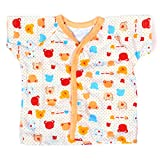 Baby Bucket Half Sleeve Front Open Printed Jabla New Born (Peach)
