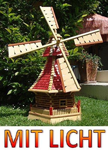 Windmühle, mit Holzschindel – Dach SOLAR Innenbeleuchtung 1,2 m groß hellbraun braun hell + natur MIT SOLARBELEUCHTUNG HOLZSCHINDEL aus Massivholz für Garten und Terrasse jetzt bestellen