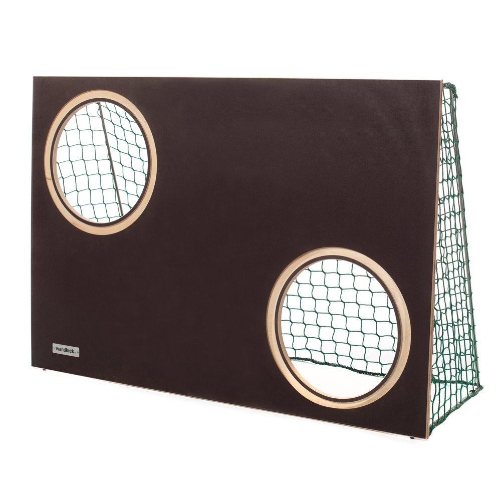 Wandkick Mini Torwand in bolzplatzbraun mit Netz und Ball