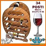 CANTINETTA ELEGANTE ESPOSITORE VINO BOTTIGLIE 34 POSTI mis. 61x27xH96 NOCE
