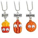 MJartoria Best Friends Forever Hamburger Hot Dog Friendship Necklaces Set of 3 (Color: Hamburger)