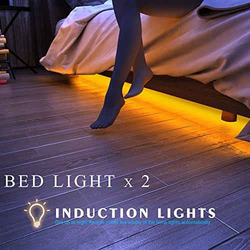 honesteast bett licht led streifenlicht bewegung aktivierte led lichtleiste auto ein aus. Black Bedroom Furniture Sets. Home Design Ideas