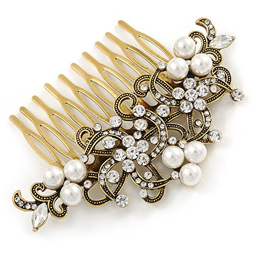 Vintage Inspired Clear Austrian Crystal White Glass Pearl Side Hair Comb In Gold Tone - 90mm 0