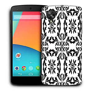 Snoogg Black Pattern Leaves Printed Protective Phone Back Case Cover For LG Google Nexus 5