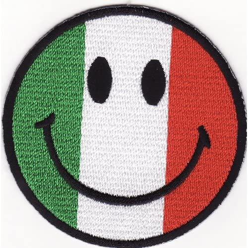com: Smile Smiley Happy Face Italy Flag Embroidered Iron on Patch S39