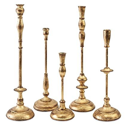 dalia set of 5 candle holders by imax - Gold Candle Holders