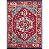 Safavieh Monaco Collection MNC207C Red and Turquoise Area Rug, 9-Feet by 12-Feet