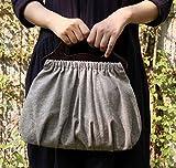 【Referica】 レディースバッグ 木製持ち手 レトロバッグ 無地 ハンドバッグ グレー