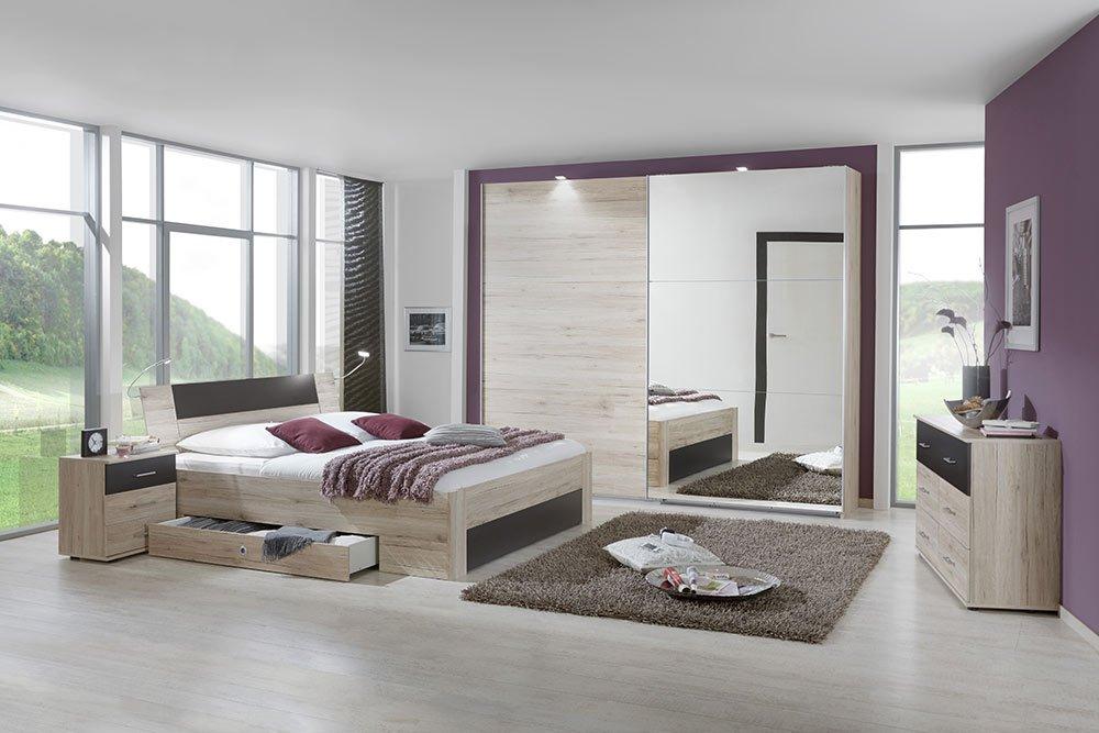 4-tlg-Schlafzimmer in San Remo-Eich-NB mit lavafarbigen Abs., Schwebetürenschrank B: 270 cm, Bett mit Schubkästen B: 180 cm, 2 Nachtschränke B: 52 cm online kaufen