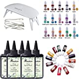 5 Pieces 100ML Crystal Epoxy Resin UV Glue, 1 Lamp 15 Pearlescent Pigment 13 Liquid Pigment for Jewelry Making Craft Earrings Necklace Bracelet Storage Box DIY Making (Tamaño: 500Resin+lamp+28pigment)