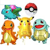 Large Pokemon, Pikachu & Friends Birthday Party Balloons, 5-Pack (Tamaño: Basic size)