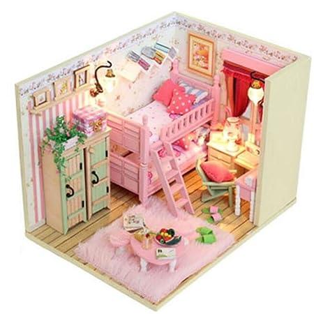 Maison De PoupéesBois Mini maison meubles Kit décoration maison artisanale en bois poupées salle anniversaire cadeaux LED maison de poupée