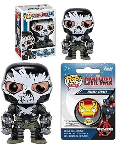 Funko POP! Captain America 3: Crossbones w/ Iron Man Pin - Civil War Set NEW