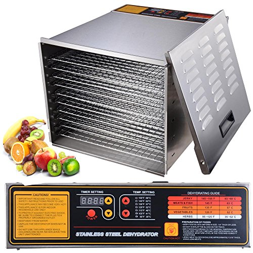 1200W 10 Tray Stainless Steel Digital Food Jerky Fruit Dehydrator with 10 Stainless Steel Shelves Digital Timer (Dehydrators Stainless compare prices)