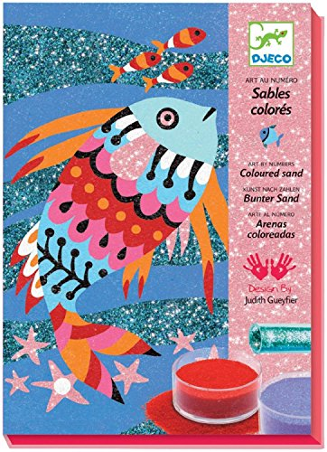 Djeco / Colored Sand/Glitter Art By Numbers, Rainbow Fish (Sand Art By Numbers compare prices)
