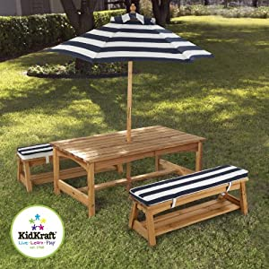 For Kids Only Inc Outdoor Table And Chair Set With Cushions And Navy Stripes by For Kids Only, Inc.