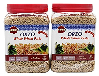 Baron's Kosher Orzo Whole Wheat Pasta 21.16-ounce Jar (Pack of 2) from Baron's