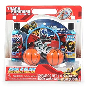 Trans Formers Prime Soak & Slam Basketball Bath Set-Bubble Gum Blast Shampoo (Net 4 fl oz-118 mL) & Bubble Gum Blast Body Wash (Net 4 fl oz-118mL)
