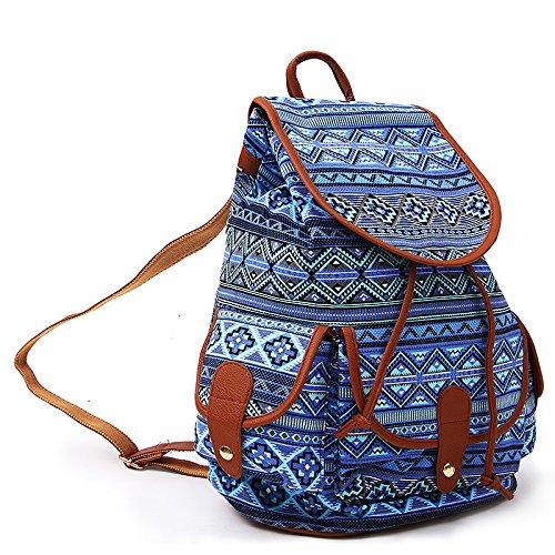YISUMEI Canvas Waterproof Schoolbag Bookbags Backpack Travel Bag Aztec Tribal Pattern Blue 2 (Vacuum Pack Elite compare prices)