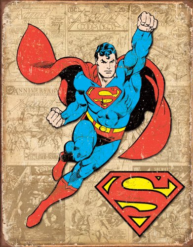 Tin Sign Superman Weathered.