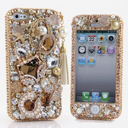 Special Sale Bling iphone 5 5S case 3D Swarovski Crystal Diamond Pearls with Goden Purse Design with Phone Charm Design Case Cover faceplate AT&T Verizon & Sprint (Handcrafted by BlingAngels)