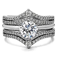 buy Wedding Ring Guard Set Includes: 1 Ct. Round Cz Solitaire With Silver Guard With Cz