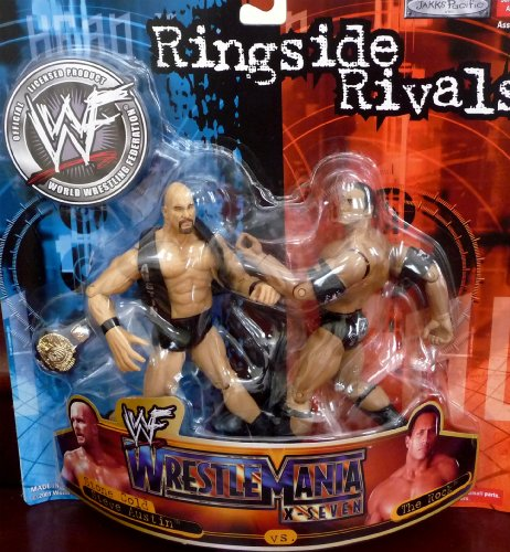 Buy Low Price Jakks Pacific the Rock vs. Stone Cold Steve Austin WWE WWF Ringside Rivals from Wrestlemania x-7 Toy Figures (B004WKL49A)