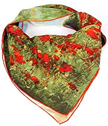 Olina Women's High-Grade Elegant 100% Luxury Square Silk Scarf (Claude Monet - Poppy Field in Argenteuil)