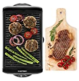 Chefman Electric Smokeless Indoor Grill - Large Griddle w/Non-Stick Cooking Surface, Adjustable Temperature Knob, and Removable Drip Tray, Black
