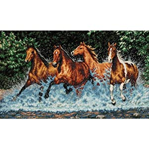 Dimensions Gold Collection Galloping Horses Counted Cross Stitch Kit: 18x10