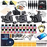 Complete Tattoo Kit TOP Machines Gun color Inks Power supply needles set D82