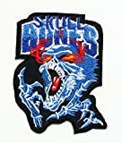 Blue Skull Bone Badge Iron on Patches # WITH FREE GIFT / Buy Heart Shop