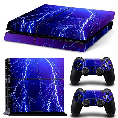 DOTBUY PS4 Pelli Playstation 4 Vinile Adesivi Skin Sticker Giochi PS4 Sistema + Due Decalcomanie del Dualshock Controller (Violet Lightning)