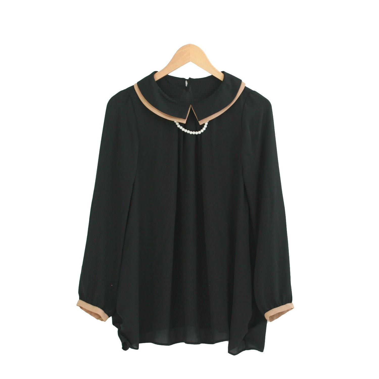 Amazon.co.jp: パール付きバイカラー重ね襟シフォンチュニックブラウス: 服&ファッション小物通販