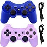 PS3 Controllers for Playstation 3 Dualshock Six-axis, Wireless Bluetooth Remote Gaming Gamepad Joystick Includes USB Cable (Blue and Purple,Pack of 2) (Color: Purple and Blue)