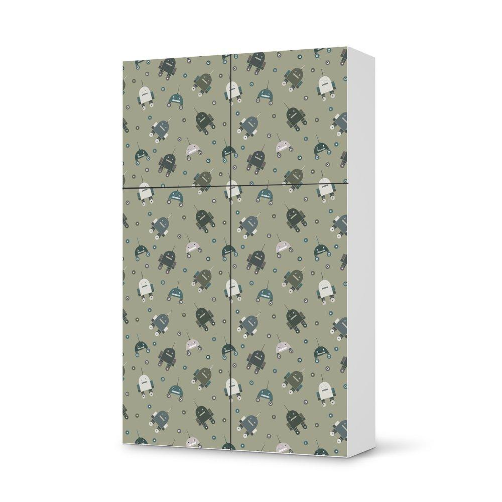 Folie IKEA Besta Schrank Hochkant 4 Türen (2+2) / Design Aufkleber Robots – Braungrau / Dekorationselement günstig kaufen